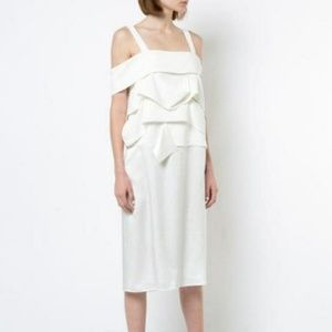 Derek Lam Draped Panel Cold Shoulder Midi Dress